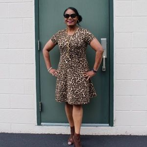Kate Spade leopard stretch fit and flare dress